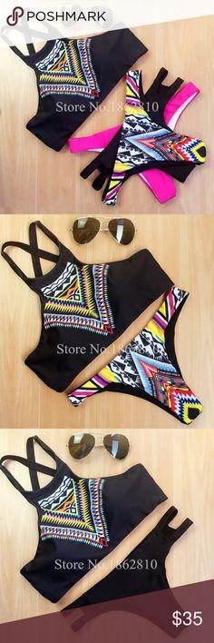 Summer'17 ! High Neck Push Up Bikini Wire Free ! Multi Color Patterns , Halter , Push Up Tops, Low Waisted Thong Bottoms Swim Bikinis