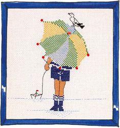 Rue du Port - Broderie à points comptés - Broderie - Parapluie garçon Rue Du Port, Cross Stitch Family, Blackwork Embroidery, Cross Stitching, Cross Stitch Patterns, Needlework, Projects To Try, Beach, Crafts