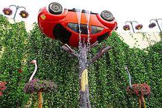 #Dubai #miraclegarden #display #water #car #upsidedown #flamingo #statue #shower Miracle Garden, Flamingo, Dubai, Display, Statue, Shower, Water, Instagram Posts, Flamingo Bird
