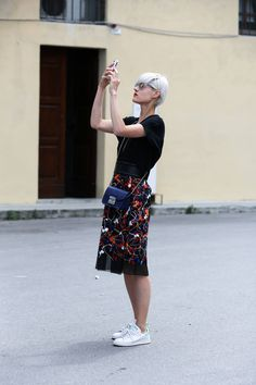 Pitti Street Style Photos - Street Style Pictures from Florence - Elle the kicks and white hair