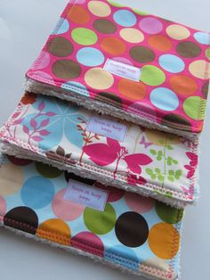 Baby Burp Cloths - Super Absorbent Set of 3 - Enchanted Garden Butterfly and Dots. $20.00, via Etsy.