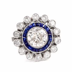Art Deco European-Cut Diamond Blue Sapphire Platinum Engagement Ring Item # PLDEC16-2