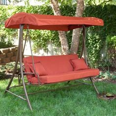 When it's too hot to sleep indoors, you'll be glad you have this Outdoor Porch Swing Sofa Bed with Canopy in Terracotta. This handy piece of garden or porch furniture serves as a swing, and it also folds down into a bed. Outdoor Swing With Canopy, Canopy Swing, Patio Swing, Porch Swings, Outdoor Swings, Garden Swings, Swing Chairs, Swing Seat, Cozy Patio