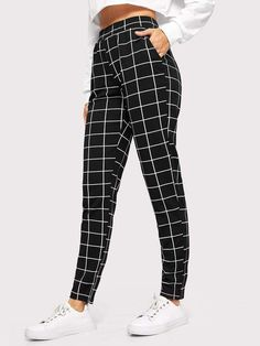 To find out about the Elastic Waist Slant Pocket Grid Pants at SHEIN, part of our latestPants ready to shop online New Arrivals Dropped Daily. Teen Fashion Outfits, Trendy Outfits, Girl Outfits, Cute Pants Outfits, Ad Fashion, Fashion Hair, Fashion 2017, Fashion Styles, Mode Adidas