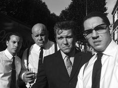 Tom Hardy with Jacob Tomuri,Shane Attwooll and Adam Fogerty on the set of Legend - July 2014