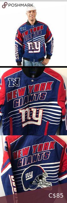 New York Giants Twill Jacket New York giants Twill Linebacker Jacket size Large NFL Jackets & Coats Bomber & Varsity New York Giants, Nfl, Coats, Man Shop, Jackets, Closet, Things To Sell, Style, Fashion