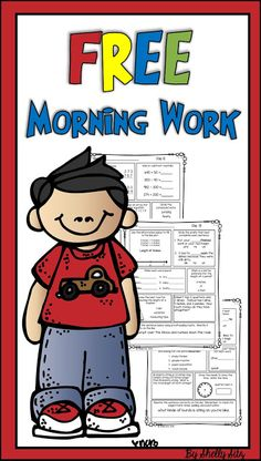 FREE morning work for second grade--mental math, 3-digit addition & subtraction, arrays, telling time, word problems, line plots, plurals,  multiple meaning words, compound words, & prefixes