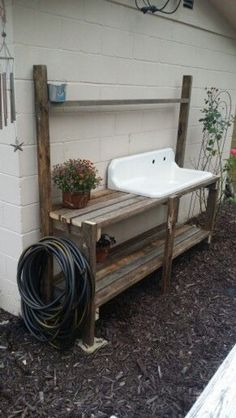 Potting bench with vintage drain board sink. Discover How To Easily Build An Attractive And Affordable Backyard Chicken Coop… building-achicken… Potting bench with vintage dr Building A Chicken Coop, Building A Shed, Backyard Chicken Coops, Chickens Backyard, Cozy Backyard, Backyard Shade, Backyard Ideas, Farmhouse Landscaping, Front Yard Landscaping