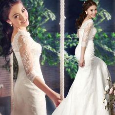 White Lace Vintage Mermaid Fall Winter Wedding Gowns with Sleeves SKU-117040