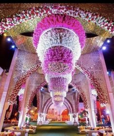 The grand ceiling decor idea makes the wedding not just beautiful , but the wedding celebration more thoughtful Desi Wedding Decor, Wedding Hall Decorations, Wedding Entrance, Wedding Table Centerpieces, Entrance Decor, Wedding Ideas, Birthday Decorations, Wedding Reception, Wedding Venues