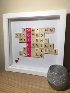 Personalised Scrabble Frame, Customisable Name and Descriptions