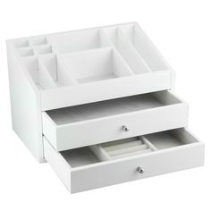 White Wooden Jewelry and Cosmetic Box   Overstock.com Shopping - The Best Deals on Jewelry Boxes