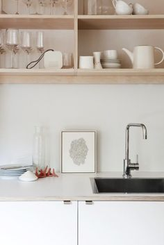 plywood open kitchen shelves and plywood counter, too.  #kitchenshelves