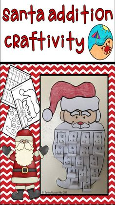 Santa Addition Sums to 20 Craftivity Fun Santa Craft. Curl the beard! Also include is a blank no math version of the product to create the craft only! Multiplication, Fractions, Math Math, Maths, Summer School Activities, Christmas Activities, Classroom Activities, Fun Activities, Classroom Fun