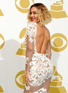 Beyonce Wears a Sheer Gown with White Detail to the 2014 Grammys After Performance: See a Pic