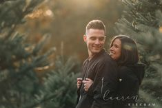 Couples session at Christmas tree farm with Saratoga Springs NY engagement photo. - Couples session at Christmas tree farm with Saratoga Springs NY engagement photographer Lauren Kirk - Family Christmas Pictures, Christmas Tree Farm, White Christmas, Christmas Minis, Christmas Couple, Christmas Cookies, Family Photos, Christmas Tree Photography, Christmas Portraits