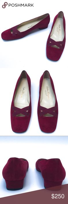 ✨Rare✨ Ferragamo Red Suede Loafers Classic Salvatore Ferragamo flat with Ferragamo signature grossgrain ribbon detailing on front vamp. Crafted in a lush red Suede this beautiful loafer features a peek a boo front. Salvatore Ferragamo Shoes Flats & Loafers