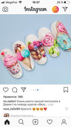 Fruit Nail Designs, Cute Summer Nail Designs, Cute Summer Nails, Acrylic Nail Art, Gel Nail Art, Nail Art Diy, Nail Manicure, Chic Nails, Stylish Nails