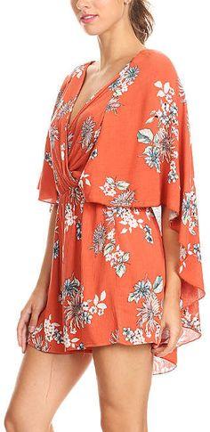 35acf781e3de Cute plus size orange floral  romper with a cape!  summer  affiliatelink