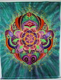 mandala art Rebirth silk wall hanging от HeavenOnEarthSilks