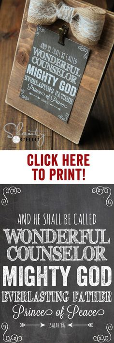 """FREE Printable Bible Verse and $3 Frames... Great Christmas Gift at <a href=""""http://www.shanty-2-chic.com"""" rel=""""nofollow"""" target=""""_blank"""">www.shanty-2-chic...</a>"""
