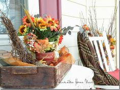 Fall decor on the porch.