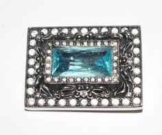 Joan Rivers Victorian Pin with Faceted Blue by SCLadyDiJewelry