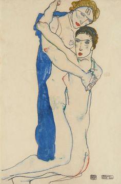 Egon Schiele - Freundin, Rosa-blau (1913)