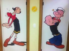 Olive And Popeye restroom signs - from boredpanda