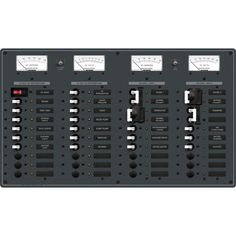 Blue Sea 3086 AC 2 Sources +12 Positions / DC Main +19 Positions Toggle Circuit Breaker Panel (Black Switches) - https://www.boatpartsforless.com/shop/blue-sea-3086-ac-2-sources-12-positions-dc-main-19-positions-toggle-circuit-breaker-panel-black-switches/
