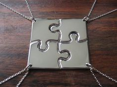 Four Corner Puzzle, Silver Pendant Necklaces.me, Brynn, Des, Jen! Sibling Tattoos, Sister Tattoos, Birthday Gifts For Best Friend, Best Friend Gifts, Bff Gifts, Tattoos Friends, Friendship Necklaces For 4, Silver Pendant Necklace, Puzzle Pieces