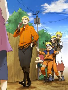Naruto going to ask Hinata out with his three past generations and Minato and Kushina behind