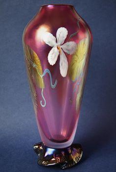 Okra Glass Pink Iridescent Footed Vase Richard Golding