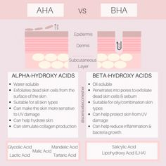 𝐀𝐇𝐀 𝐯𝐬 𝐁𝐇𝐀 - 𝐇𝐨𝐰 𝐀𝐫𝐞 𝐓𝐡𝐞𝐲 𝐃𝐢𝐟𝐟𝐞𝐫𝐞𝐧𝐭? AHAs, such as glycolic acid and lactic acid, are water-soluble and increase skin cell turnover and… Skin Tips, Skin Care Tips, Beauty Care, Beauty Hacks, Beauty Tips, Beauty Products, Diy Beauty, Lush Products, Face Beauty