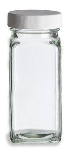 4 oz Glass French Square Spice Jar with Shaker and White Lid
