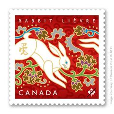 Canada Post has released the next in their popular Lunar New Year stamp series.  Tracy Walker illustrated this elegant rabbit to celebrate the Chinese year of the metal rabbit.