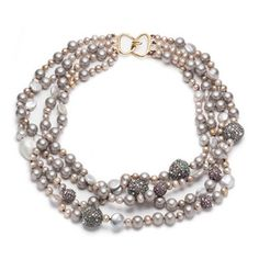 Large Pave Sphere Pearl Multistrand Necklace