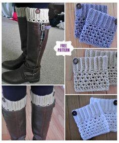 Friendship Boot Cuff Pattern By Fiber Flux Boot Cuffs by Justine VoBrooklyn Boot Cuffs by Crochet Dreamz Scalloped Boot Cuffs by Just Be Happy Life Easy Reversible Boot Cuffs by Dabbles & Babbles… Crochet Diy, Crochet Boots, Crochet Clothes, Ravelry Crochet, Knit Boots, Crochet Ideas, Crochet House, Knitted Boot Cuffs, Crochet Boot Cuff Pattern