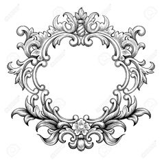 46103804-Vintage-baroque-frame-border-leaf-scroll-floral-ornament-engraving-retro-flower-pattern-antique-styl-Stock-Vector.jpg (1300×1300)