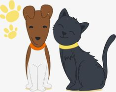 Cats and dogs are good friends, Vector Material, Cute Cats And Dogs, Cats And Dogs Friends PNG and Vector