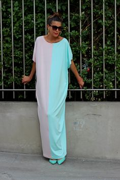 Light Mint and Pale Pink Oversized Maxi by cherryblossomsdress, $79.00