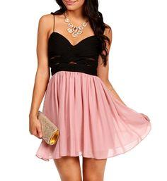 Elly-black/blush Short Dress
