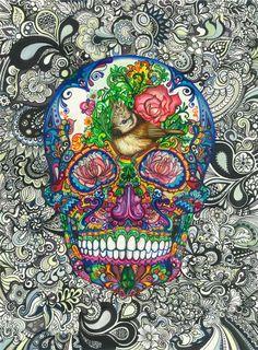 Katherine Griffin   'Great Crested Sugar Skull' Fine-liner and letraset on paper, 2013