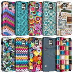 Sewing Knitting Crochet Textile Print Phone Case Covers for Galaxy Models. 3D