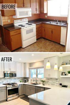 Small Kitchen Renovations, Budget Kitchen Remodel, Kitchen Remodeling, Budget Kitchen Ideas, Home Renovations, Small Kitchen Makeovers, Small House Renovation, Condo Remodel, Remodeling Ideas