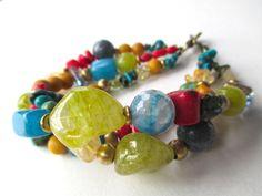 Gemstone boho bracelet colorful bohemian gypsy by StarJewels