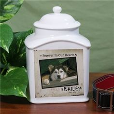"""Order this Personalized Ceramic Dog Photo Urn that measures Hand-wash only"""". Urn holds a pet weighing up to 36 lbs. Personalized Memorial Gifts, Pet Memorial Gifts, Memorial Urns, Dog Memorial, Memorial Ideas, Dog Urns, Pet Cremation Urns, Pet Memorials, Dog Photos"""