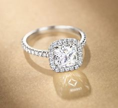Halo cushion diamond ring from The Center of My Universe Collection from Forevermark®.