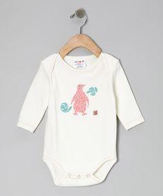 White & Pink Penguin Organic Bodysuit - Infant