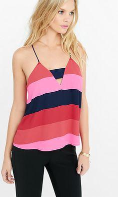 striped zip back short bandeau cami